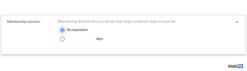 Una captura de pantalla de las opciones de vencimiento de la audiencia en Google Ads