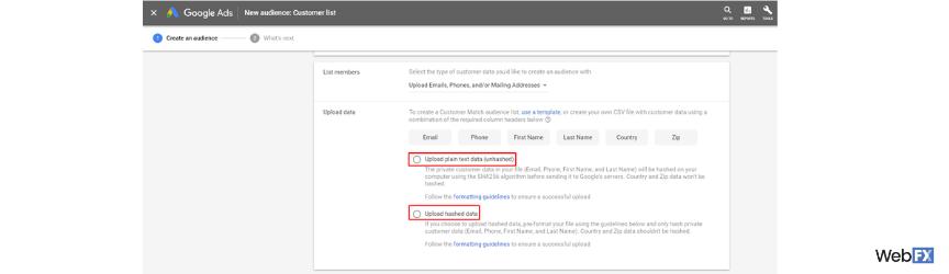 Una captura de pantalla de opciones hash y sin hash en Google Ads