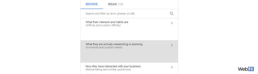 Una captura de pantalla para elegir audiencias en el mercado en Google Ads