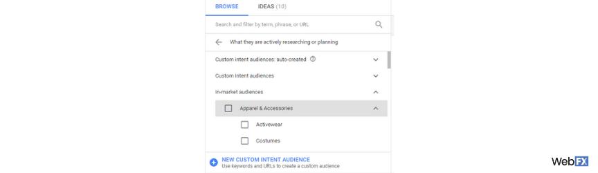 Las opciones de audiencia para una audiencia de marketing