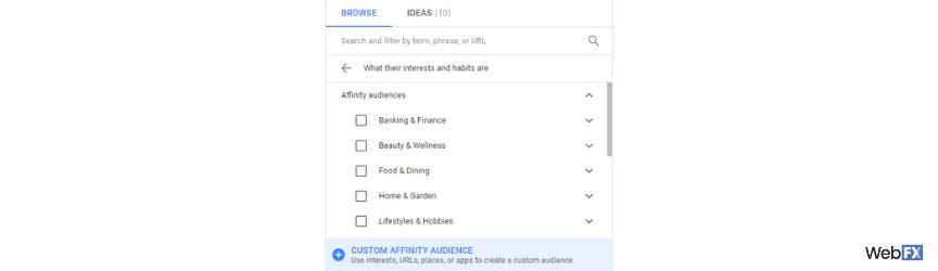 Una captura de pantalla de la creación de audiencias afines personalizadas