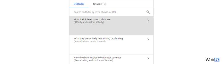 Una captura de pantalla para elegir audiencias afines en Google Ads