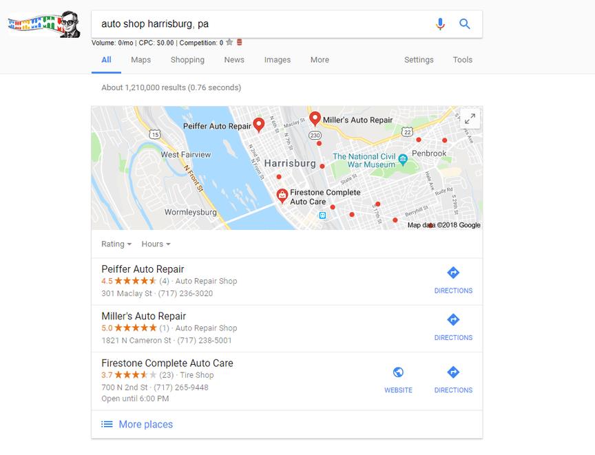 Búsqueda de Google de tiendas de automóviles en Harrisburg