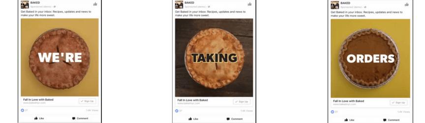 Un anuncio de video de Facebook de reproducción automática de Baked NYC