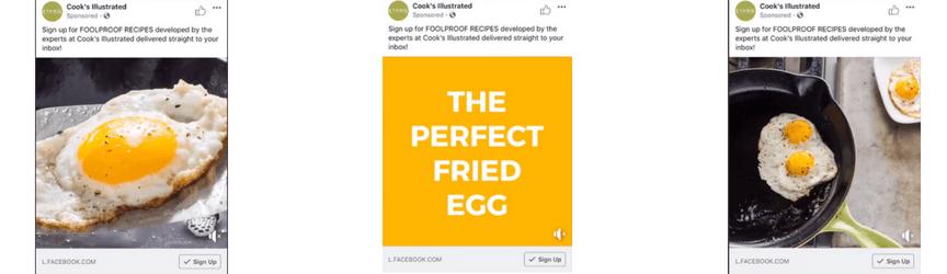 Un anuncio de video de reproducción automática de Facebook de America's Test Kitchen