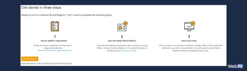 Una captura de pantalla del proceso de solicitud para Amazon Brand Registry