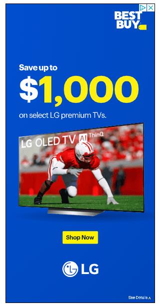 Un anuncio gráfico de Best Buy que anuncia un televisor LG