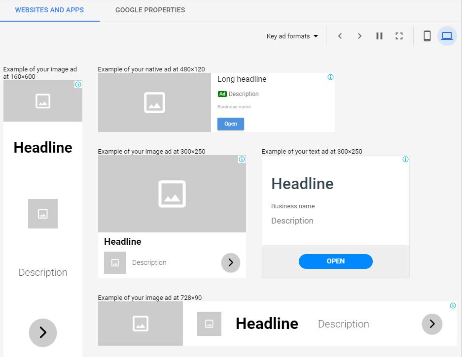 Plantillas de anuncios de display adaptables de Google