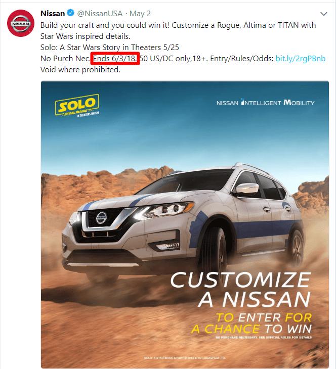 Un ejemplo de un anuncio de Twitter con fecha límite