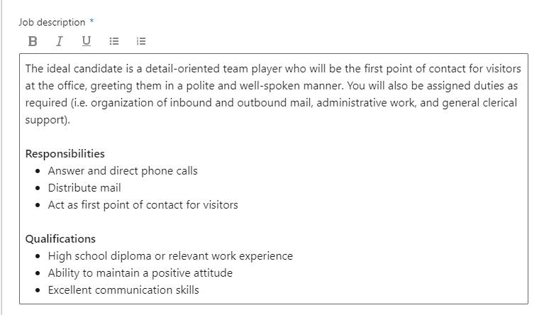 descripción del trabajo de linkedin