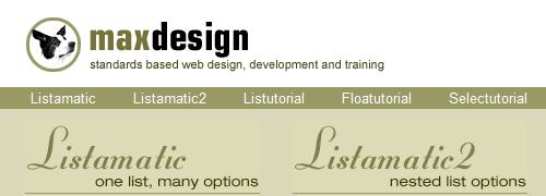 CSS en MaxDesign: captura de pantalla.