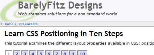 Aprenda el posicionamiento CSS en diez pasos: captura de pantalla.