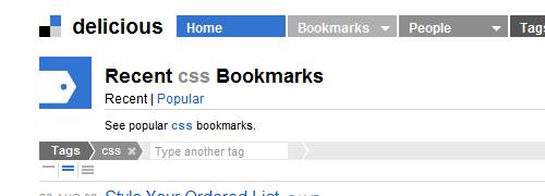 CSS en Delicious: captura de pantalla.