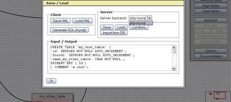 WWW SQL Designer: captura de pantalla