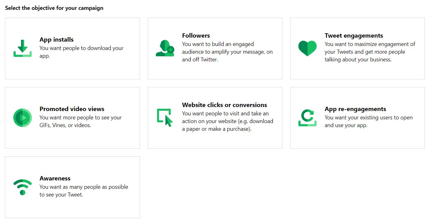 Objetivos publicitarios disponibles a través de publicidad en Twitter