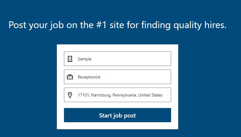 formulario de publicación de empleo de linkedin