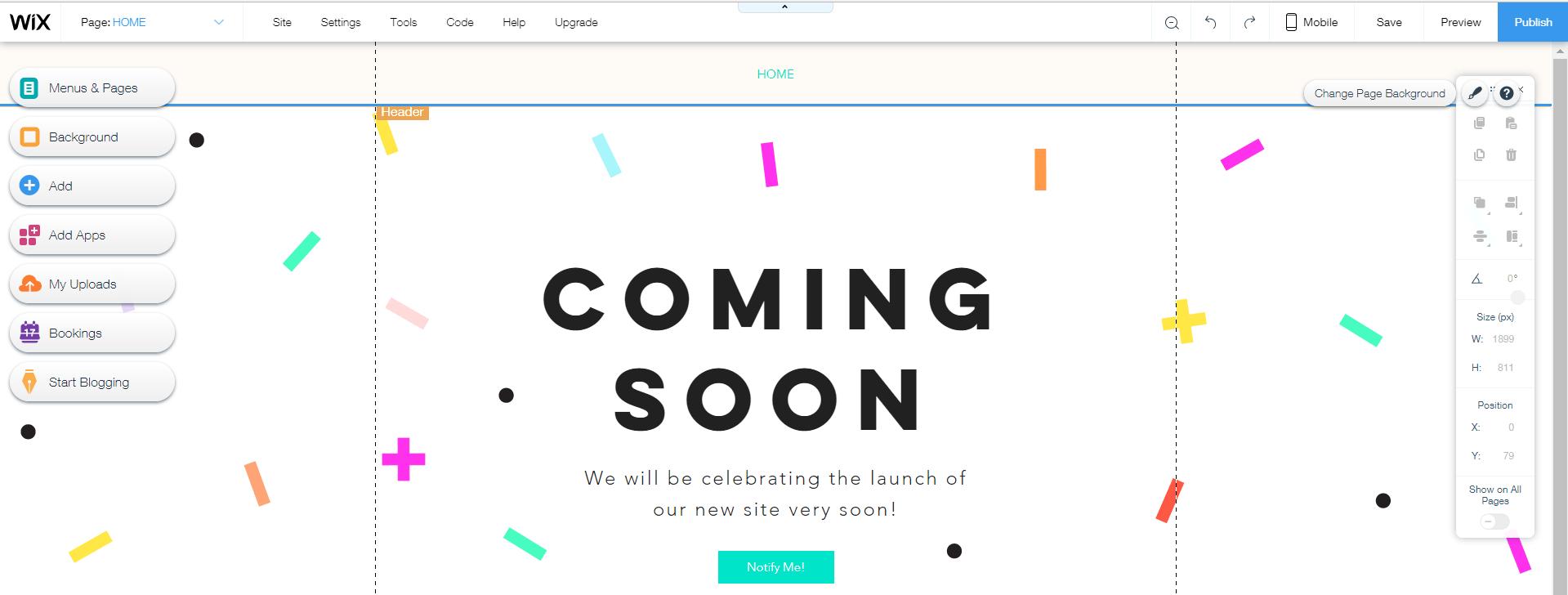 ejemplo de página de inicio de wix
