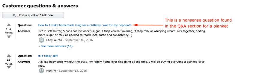 ejemplo de preguntas relevantes de Amazon