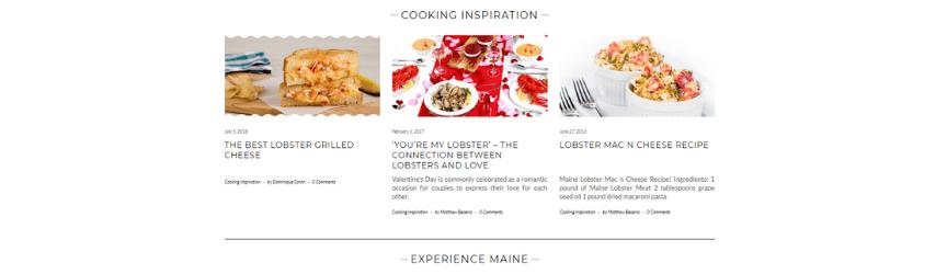 Una captura de pantalla del blog de Maine Lobster Now