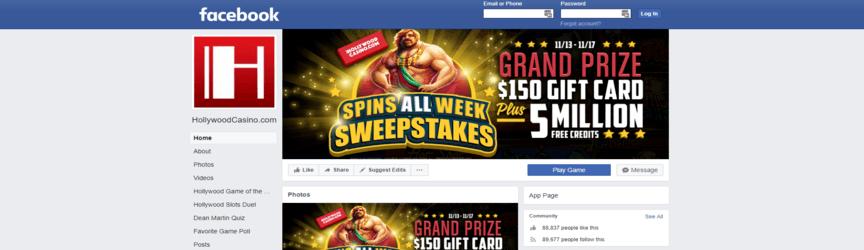 página de facebook del casino