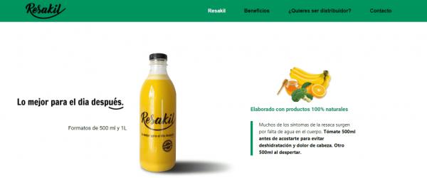 Página web de nueva bebida